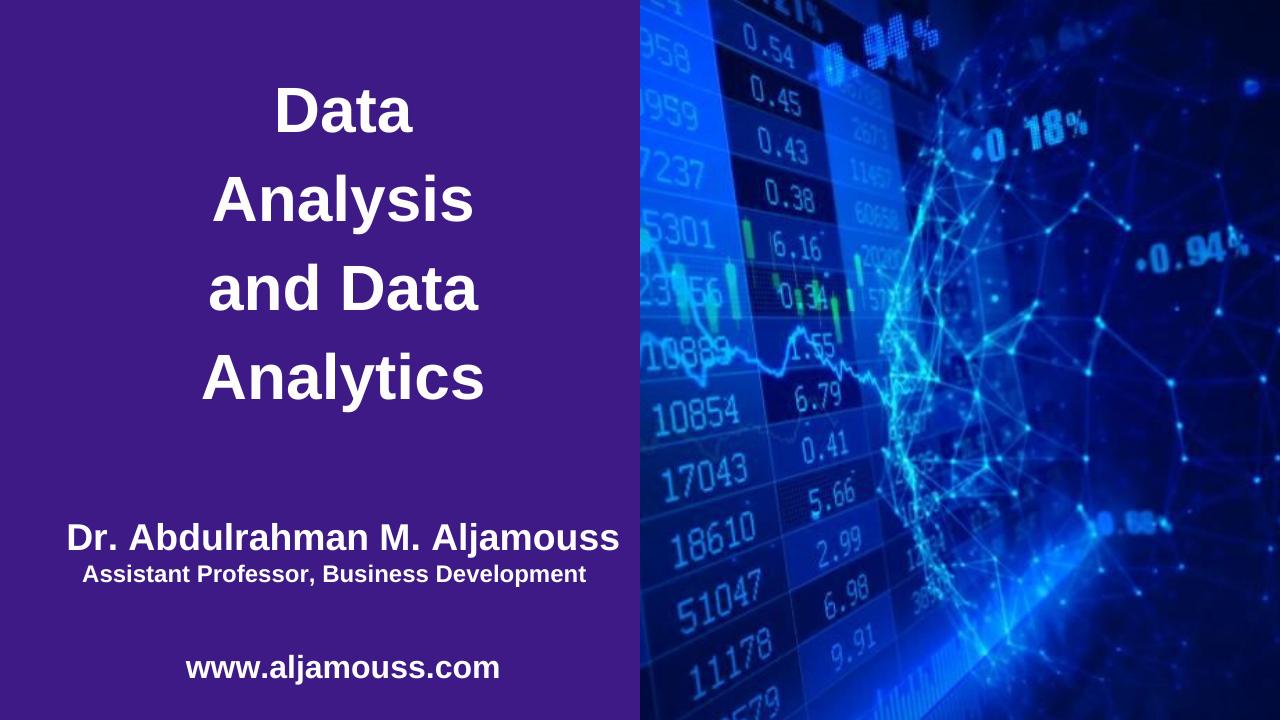 Data Analysis and Data Analytics
